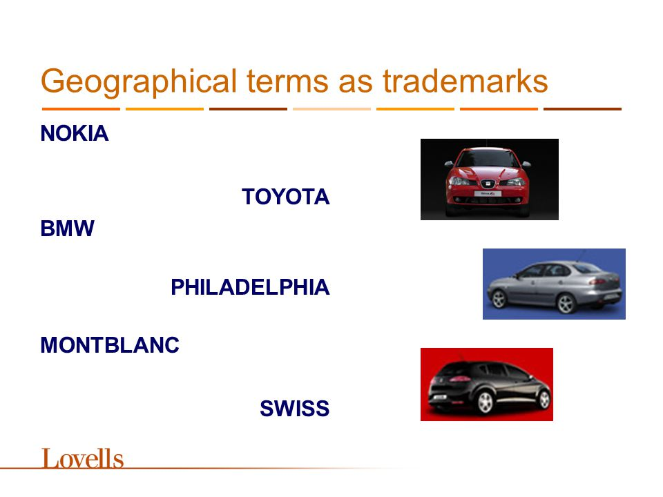 Geographical terms as trademarks NOKIA TOYOTA BMW PHILADELPHIA MONTBLANC SWISS