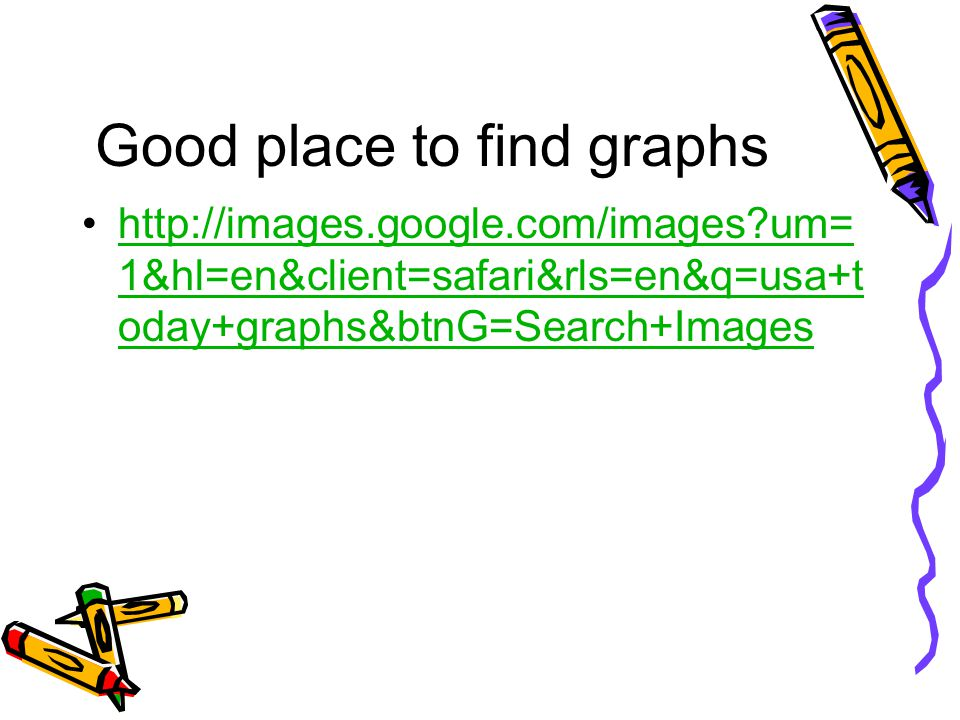 Good place to find graphs http://images.google.com/images?um= 1&hl=en&client=safari&rls=en&q=usa+t oday+graphs&btnG=Search+Imageshttp://images.google.