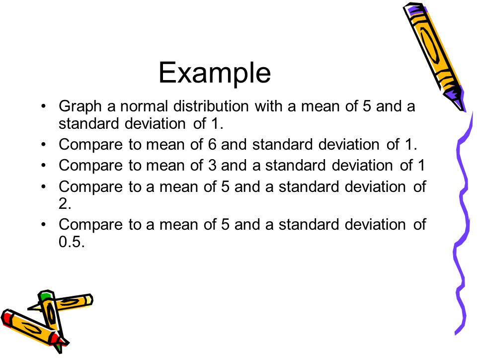 Example Graph a normal distribution with a mean of 5 and a standard deviation of 1. Compare to mean of 6 and standard deviation of 1. Compare to mean