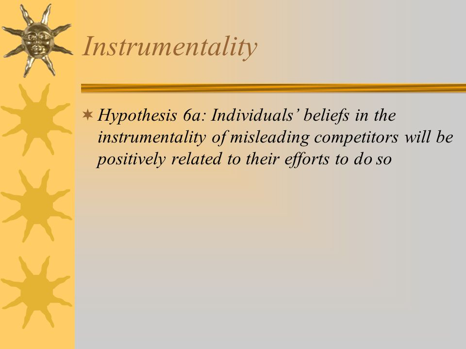 Instrumentality  Hypothesis 6a: Individuals' beliefs in the instrumentality of misleading competitors will be positively related to their efforts to do so