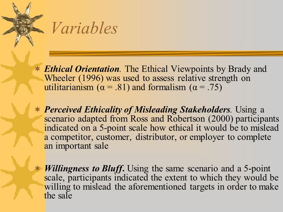 Variables  Ethical Orientation.