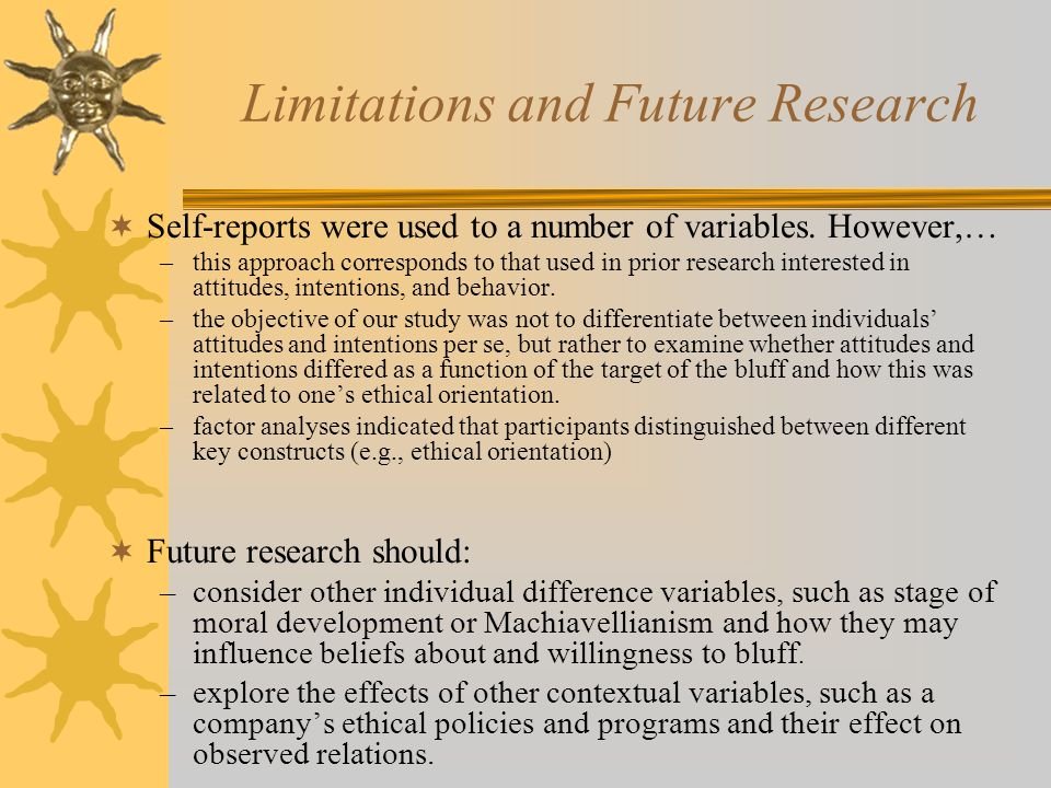Limitations and Future Research  Self-reports were used to a number of variables.