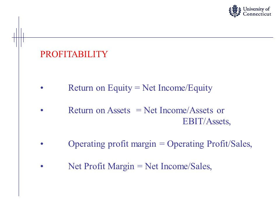 PROFITABILITY Return on Equity = Net Income/Equity Return on Assets = Net Income/Assets or EBIT/Assets, Operating profit margin = Operating Profit/Sal