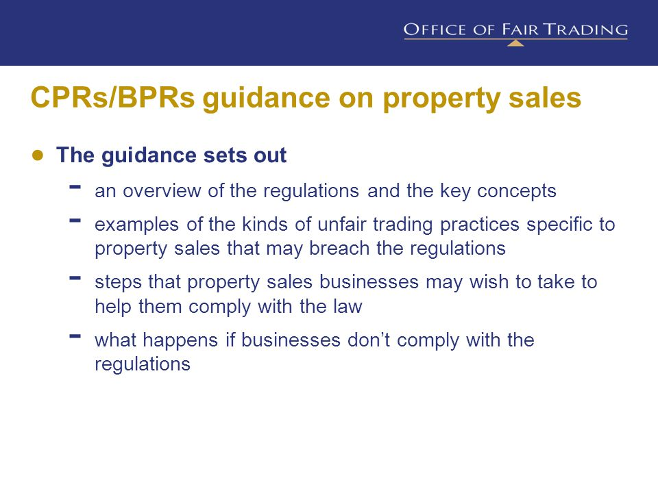 CPRs breaches Misleading actions Misleading omissions Aggressive practices Banned practices Lack of professional diligence