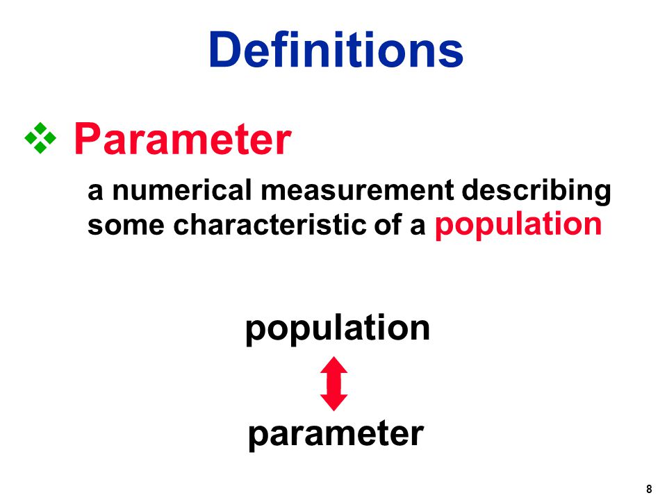 8  Parameter a numerical measurement describing some characteristic of a population population parameter Definitions