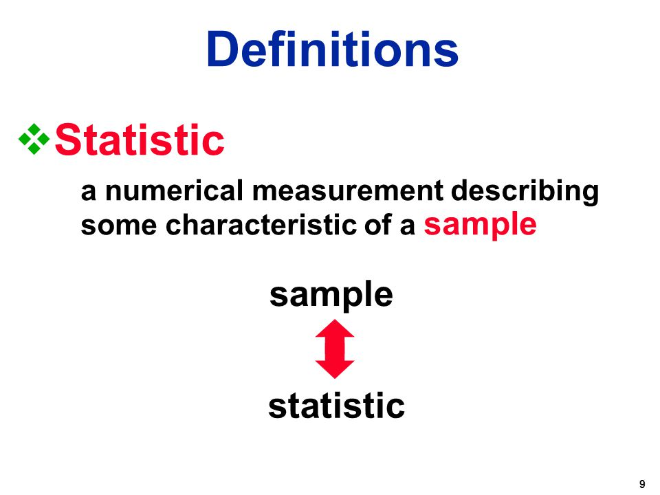 9  Statistic a numerical measurement describing some characteristic of a sample sample statistic Definitions