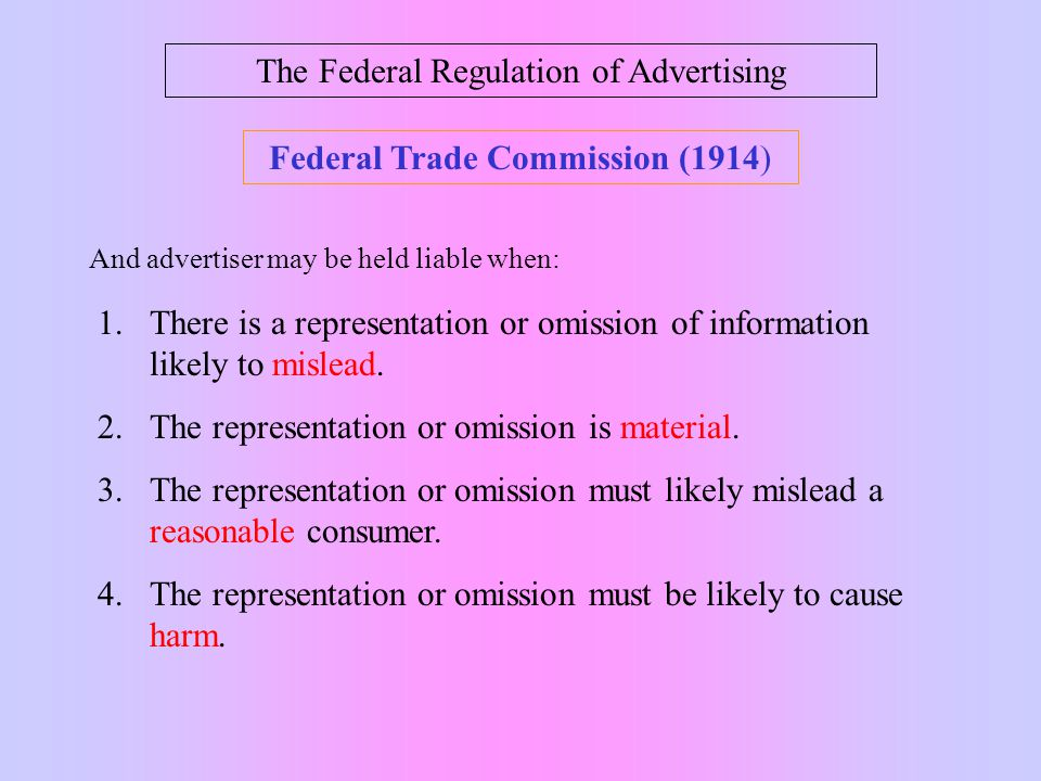 The Federal Regulation of Advertising SUPREME COURT OF THE UNITED STATES _________________ No.