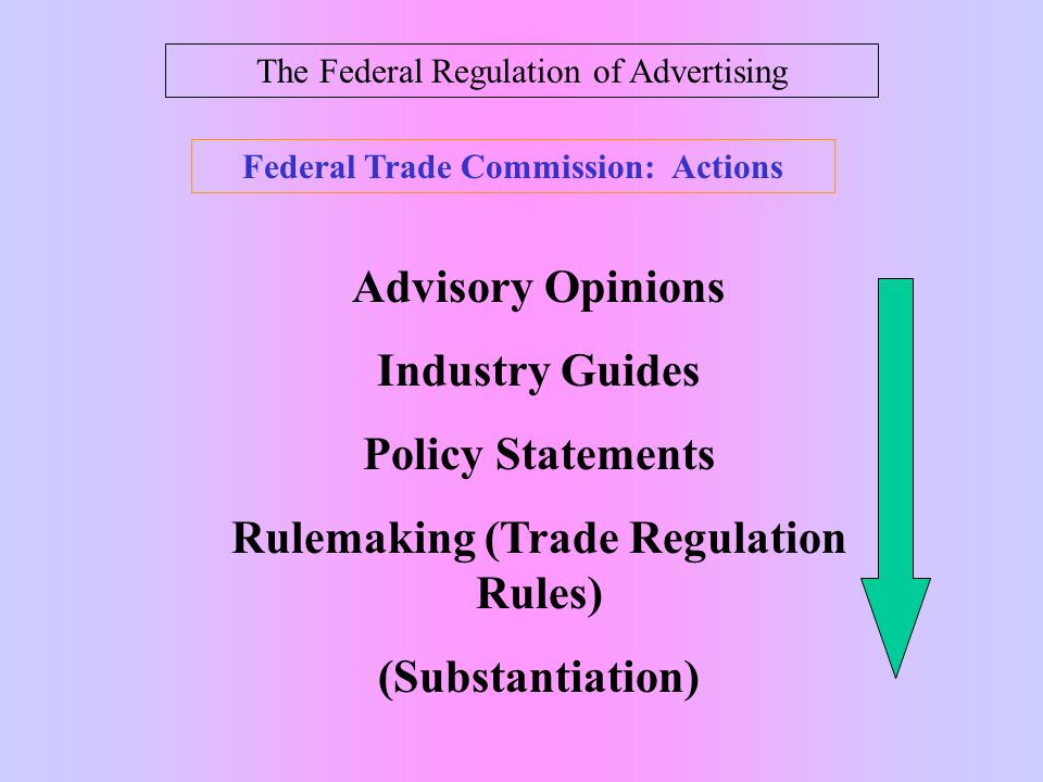 The Federal Regulation of Advertising Federal Trade Commission (1914) And advertiser may be held liable when: 1.There is a representation or omission of information likely to mislead.