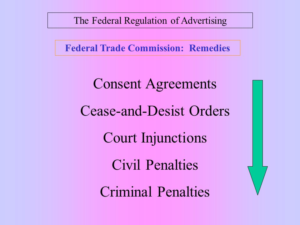The Federal Regulation of Advertising Federal Trade Commission: Remedies Consent Agreements Cease-and-Desist Orders Court Injunctions Civil Penalties Criminal Penalties