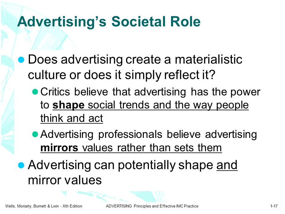 Wells, Moriarty, Burnett & Lwin - Xth EditionADVERTISING Principles and Effective IMC Practice1-17 Advertising's Societal Role Does advertising create