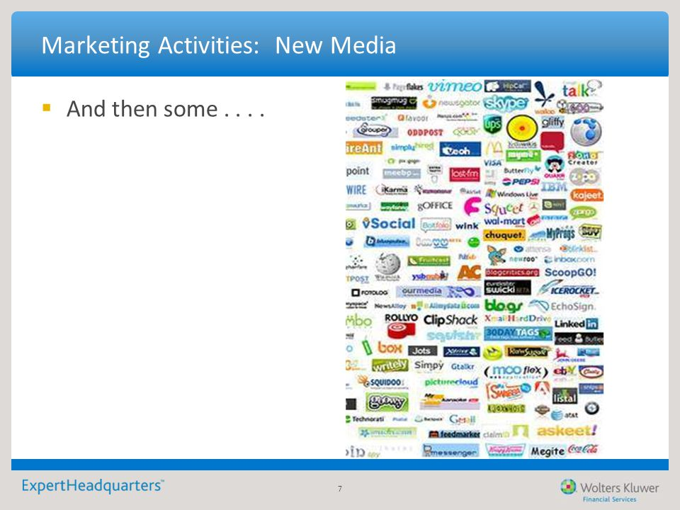 7 Marketing Activities: New Media  And then some....