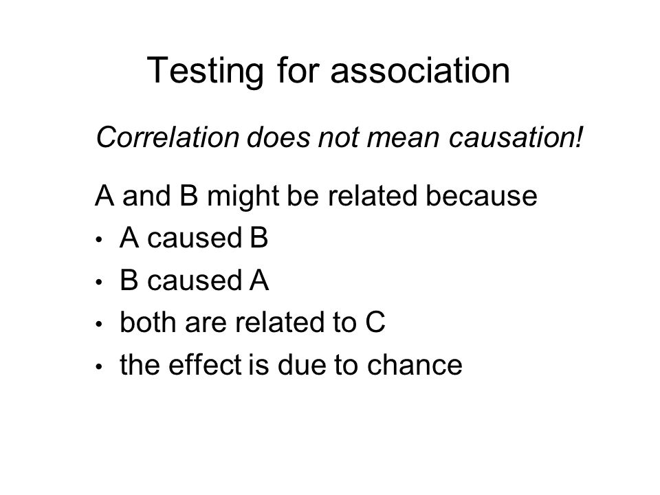 Testing for association Correlation does not mean causation.