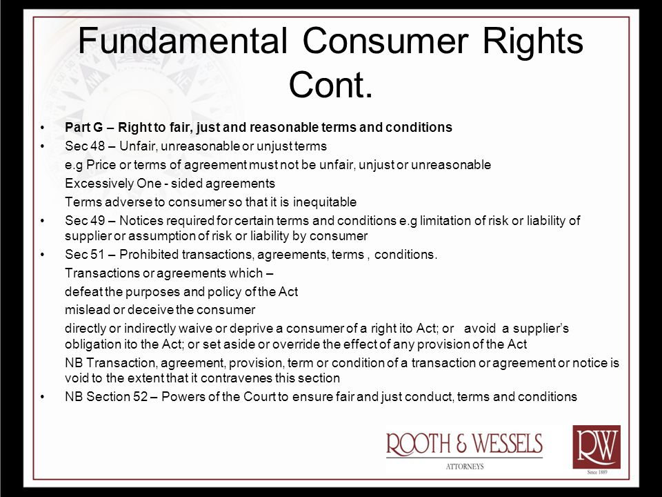 Fundamental Consumer Rights Cont.