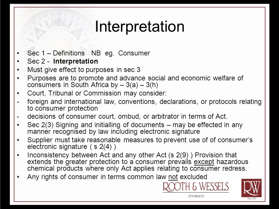 Interpretation Sec 1 – Definitions NB eg.