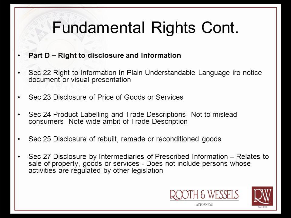 Fundamental Consumer Rights Cont.