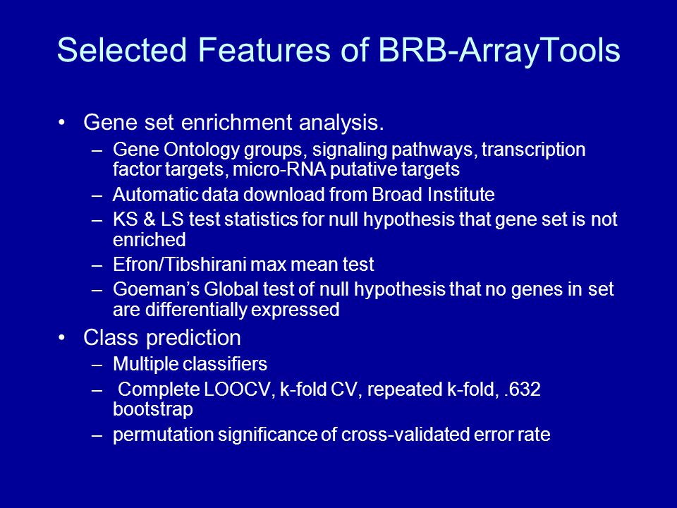 Selected Features of BRB-ArrayTools Gene set enrichment analysis.