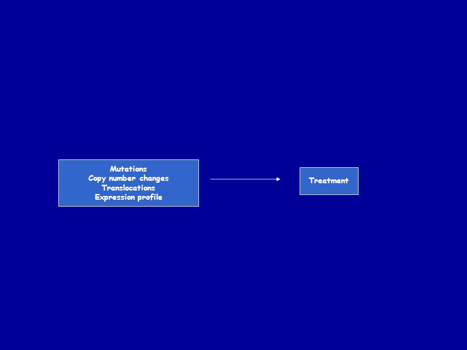 Mutations Copy number changes Translocations Expression profile Treatment