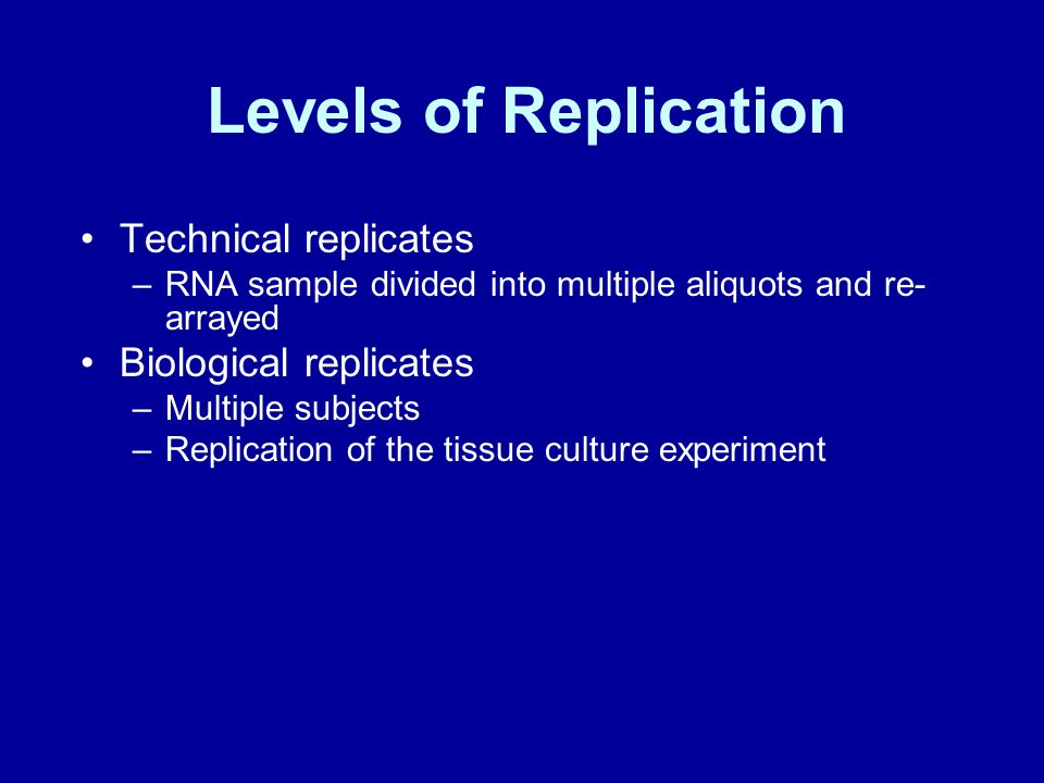 Levels of Replication Technical replicates –RNA sample divided into multiple aliquots and re- arrayed Biological replicates –Multiple subjects –Replication of the tissue culture experiment