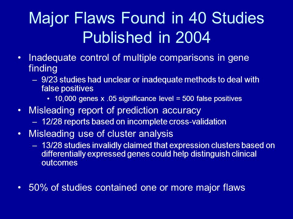 Major Flaws Found in 40 Studies Published in 2004 Inadequate control of multiple comparisons in gene finding –9/23 studies had unclear or inadequate m
