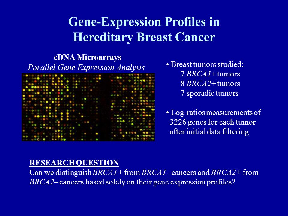 Gene-Expression Profiles in Hereditary Breast Cancer Breast tumors studied: 7 BRCA1+ tumors 8 BRCA2+ tumors 7 sporadic tumors Log-ratios measurements of 3226 genes for each tumor after initial data filtering cDNA Microarrays Parallel Gene Expression Analysis RESEARCH QUESTION Can we distinguish BRCA1+ from BRCA1– cancers and BRCA2+ from BRCA2– cancers based solely on their gene expression profiles