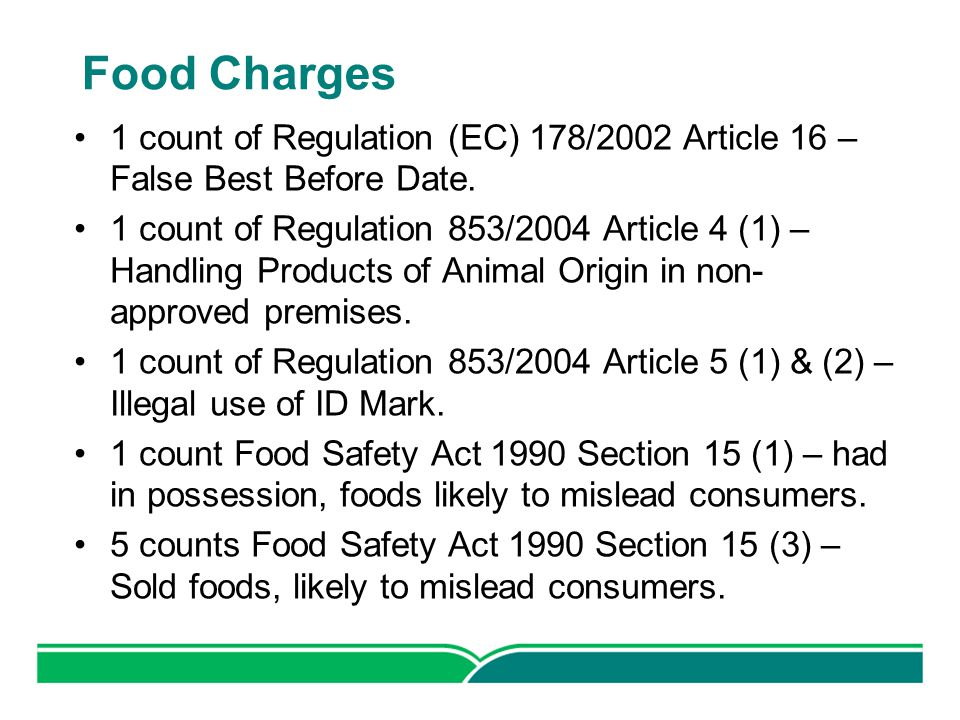 Food Charges 1 count of Regulation (EC) 178/2002 Article 16 – False Best Before Date.