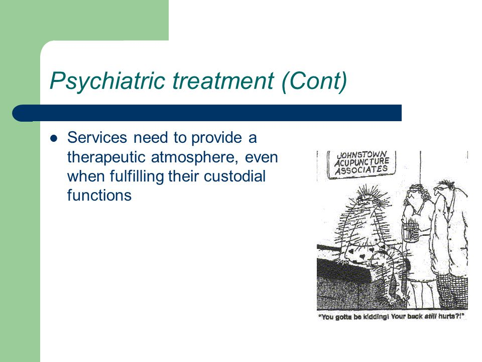 Psychiatric treatment (Cont) Services need to provide a therapeutic atmosphere, even when fulfilling their custodial functions