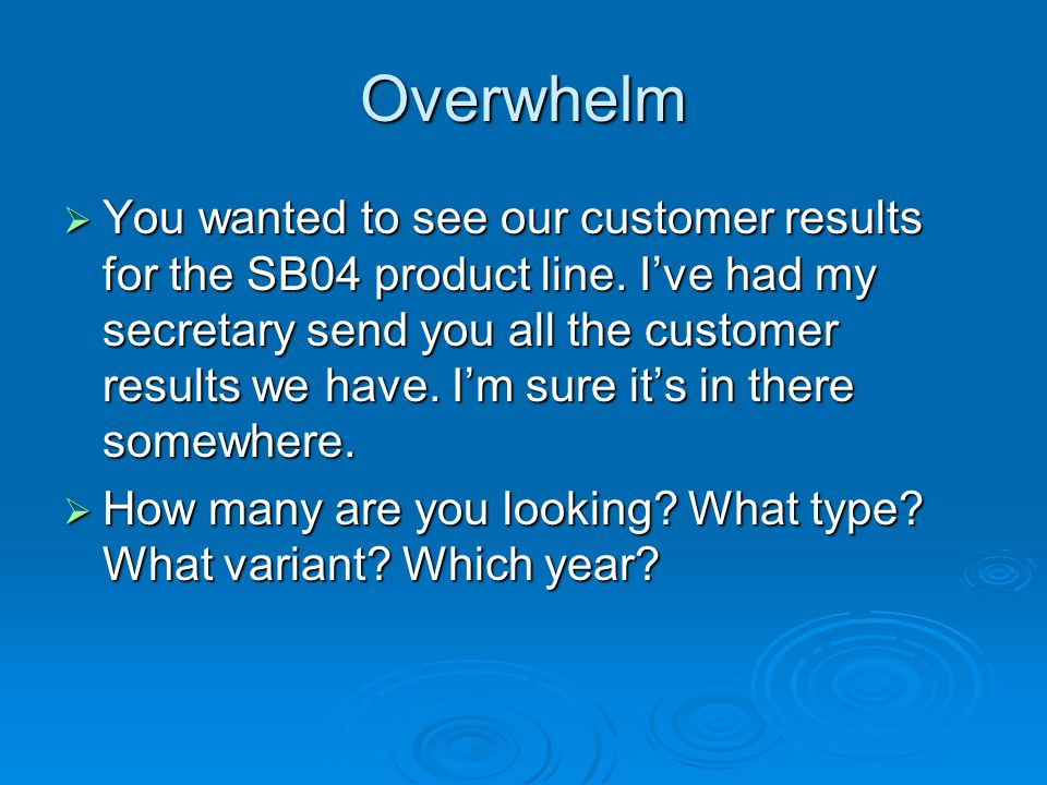 Overwhelm  You wanted to see our customer results for the SB04 product line.