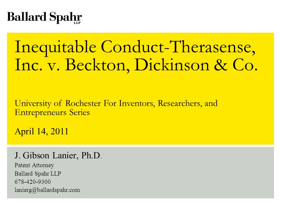2 Agenda Inequitable conduct state of the law Dayco and McKesson review New case law – Larson and Therasense But wait – here comes Therasense en banc.