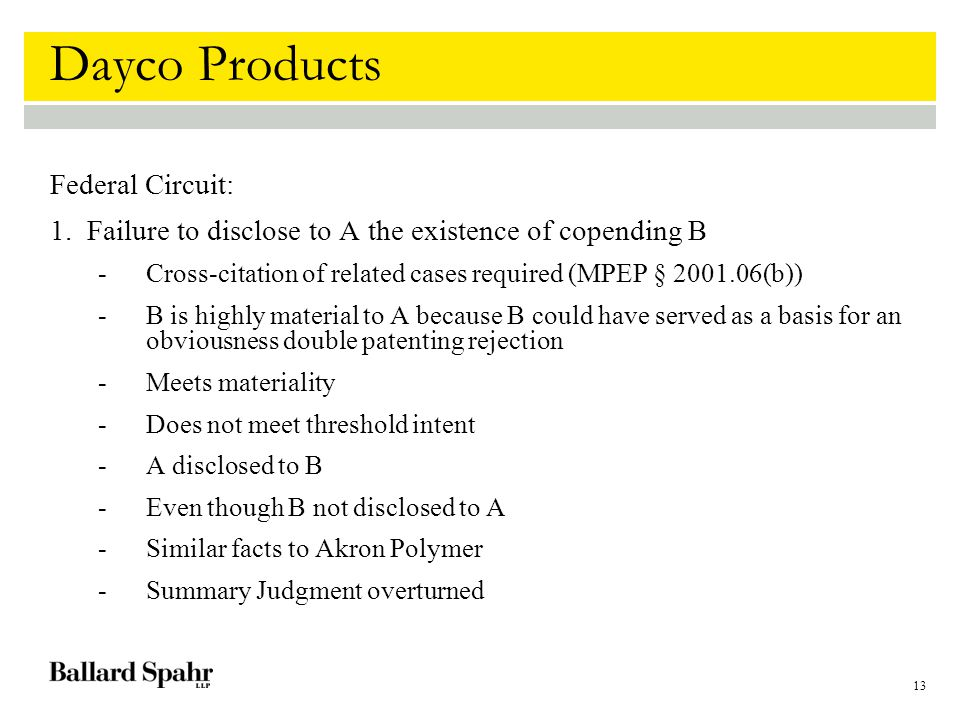 13 Dayco Products Federal Circuit: 1.