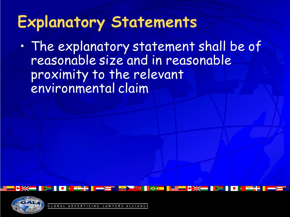 Explanatory Statements The explanatory statement shall be of reasonable size and in reasonable proximity to the relevant environmental claim