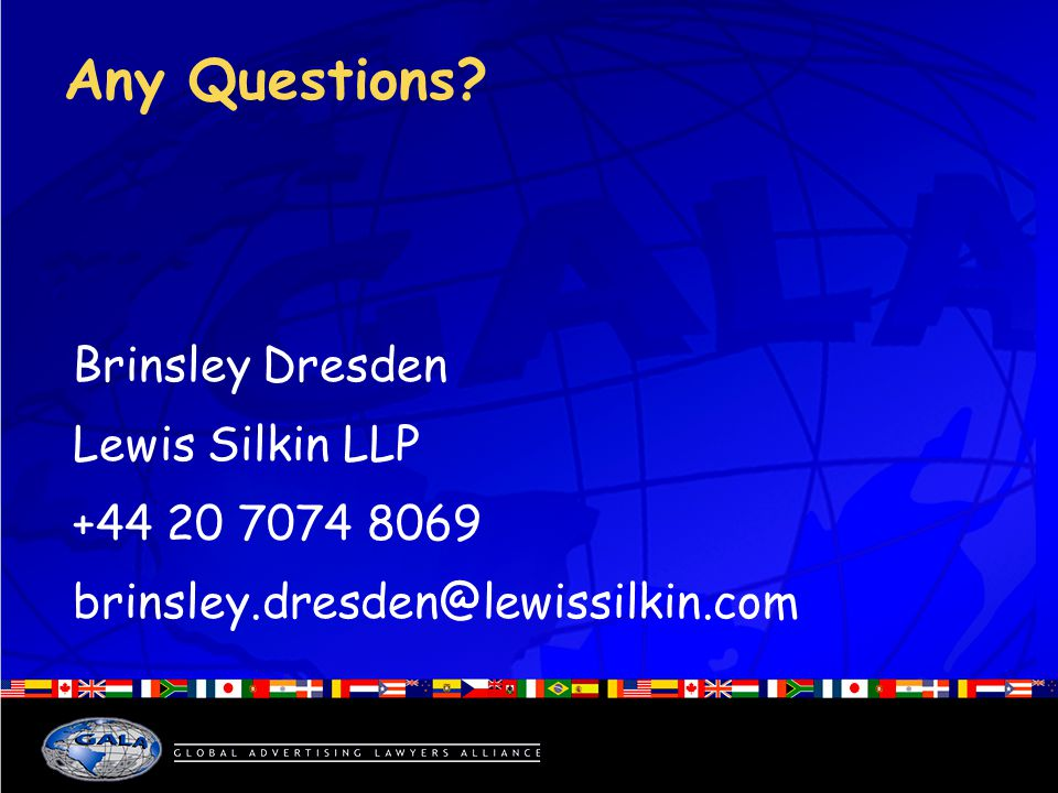 Any Questions Brinsley Dresden Lewis Silkin LLP +44 20 7074 8069 brinsley.dresden@lewissilkin.com