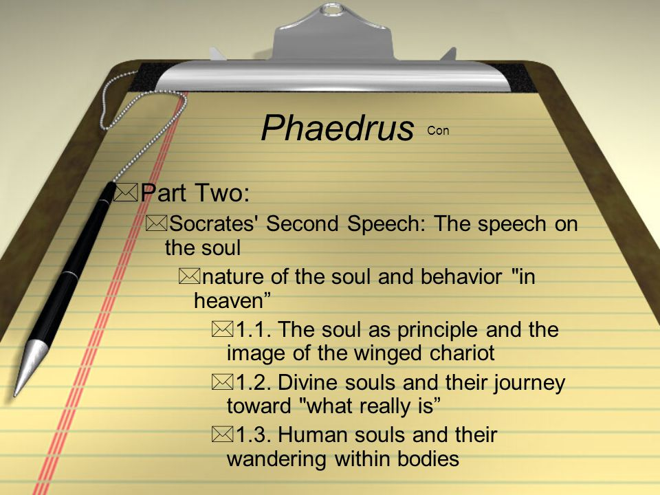 Phaedrus Con Part Two: Socrates' Second Speech: The speech on the soul nature of the soul and behavior