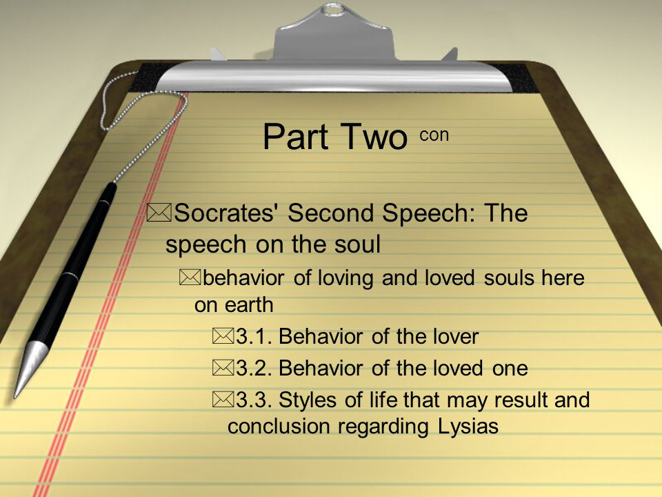 Part Two con Socrates' Second Speech: The speech on the soul behavior of loving and loved souls here on earth 3.1. Behavior of the lover 3.2. Beha