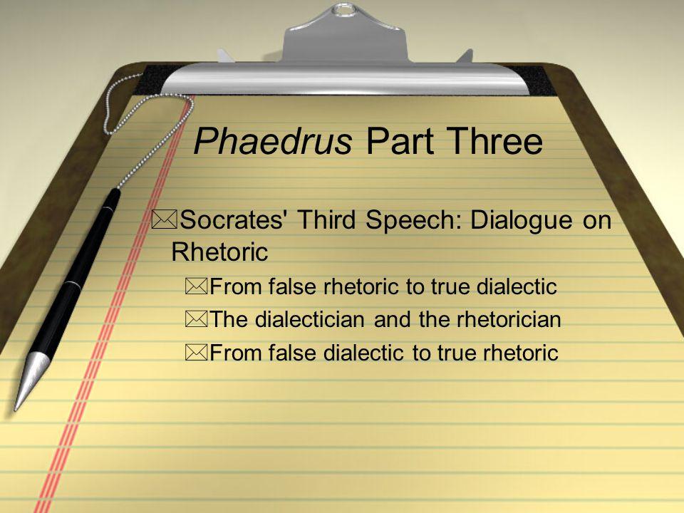 Phaedrus Part Three Socrates' Third Speech: Dialogue on Rhetoric From false rhetoric to true dialectic The dialectician and the rhetorician From f