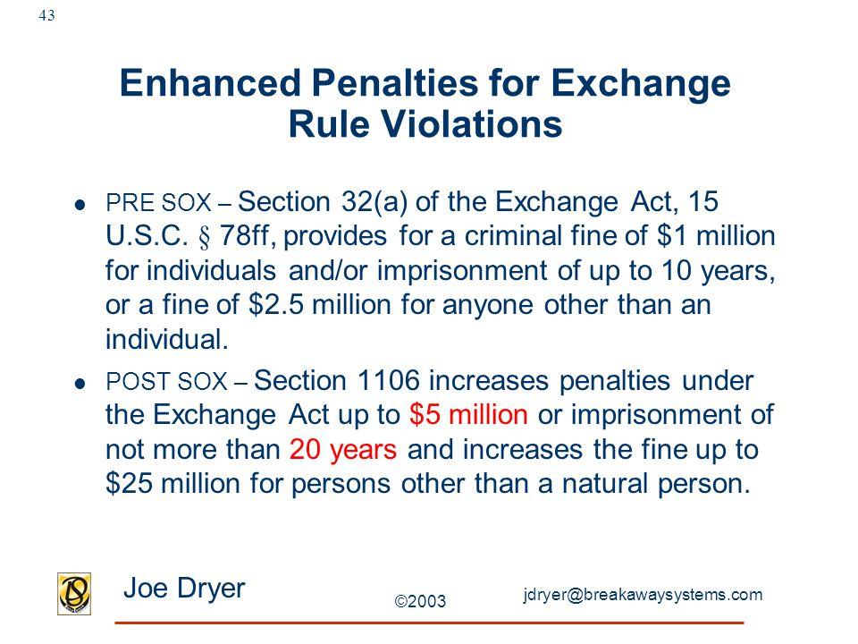 jdryer@breakawaysystems.com Joe Dryer ©2003 43 Enhanced Penalties for Exchange Rule Violations PRE SOX – Section 32(a) of the Exchange Act, 15 U.S.C.