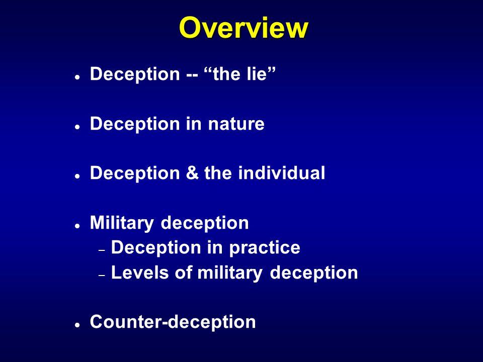 "Overview l Deception -- ""the lie"" l Deception in nature l Deception & the individual l Military deception – Deception in practice – Levels of military"