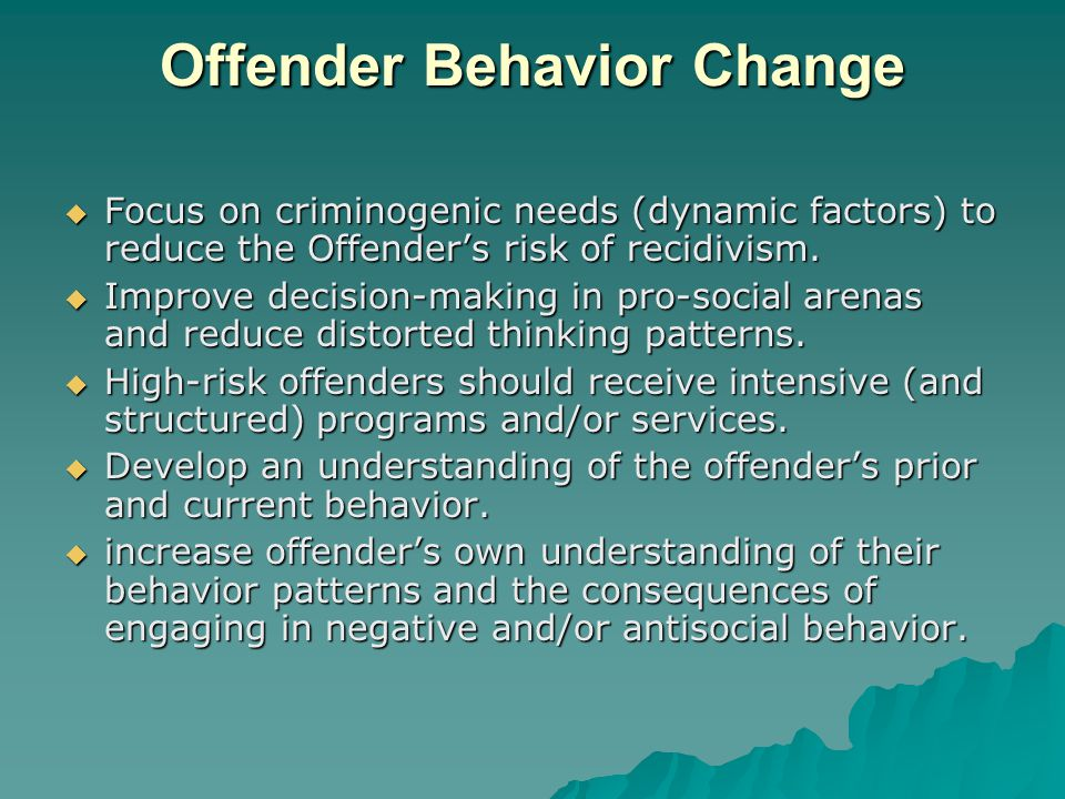 Offender Behavior Change  Focus on criminogenic needs (dynamic factors) to reduce the Offender's risk of recidivism.