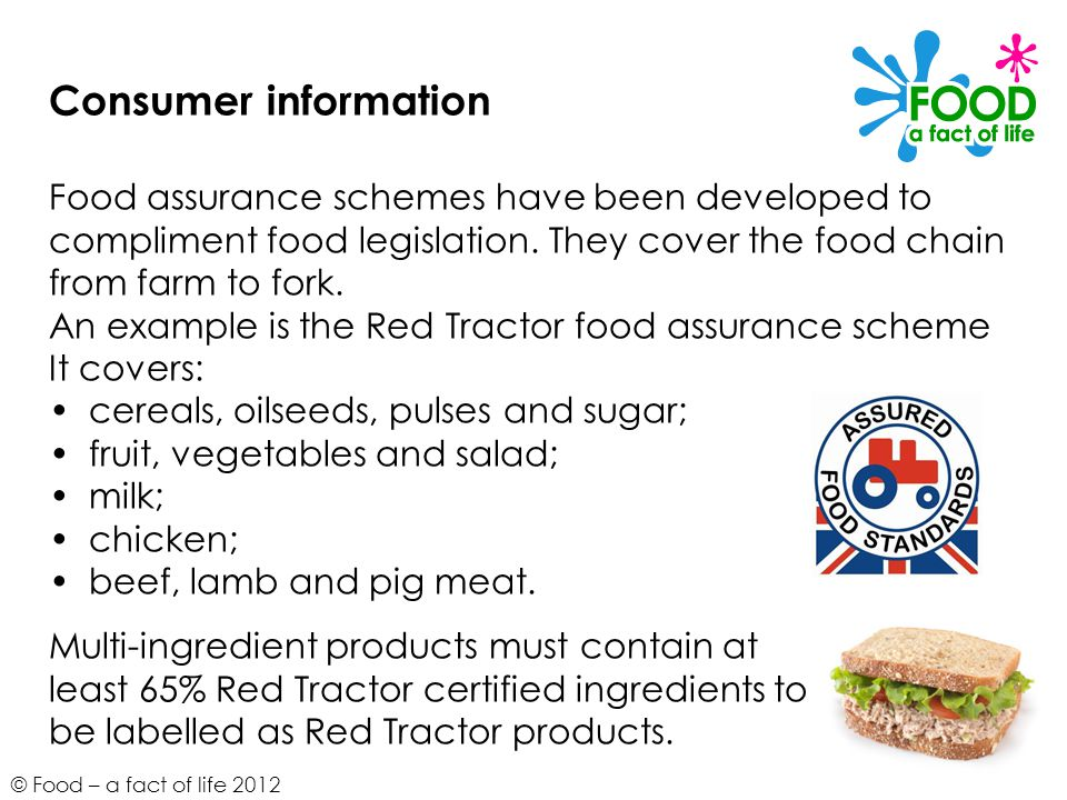 © Food – a fact of life 2012 Consumer information Food assurance schemes have been developed to compliment food legislation. They cover the food chain