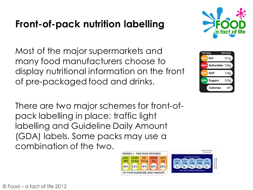 © Food – a fact of life 2012 Front-of-pack nutrition labelling Most of the major supermarkets and many food manufacturers choose to display nutritiona