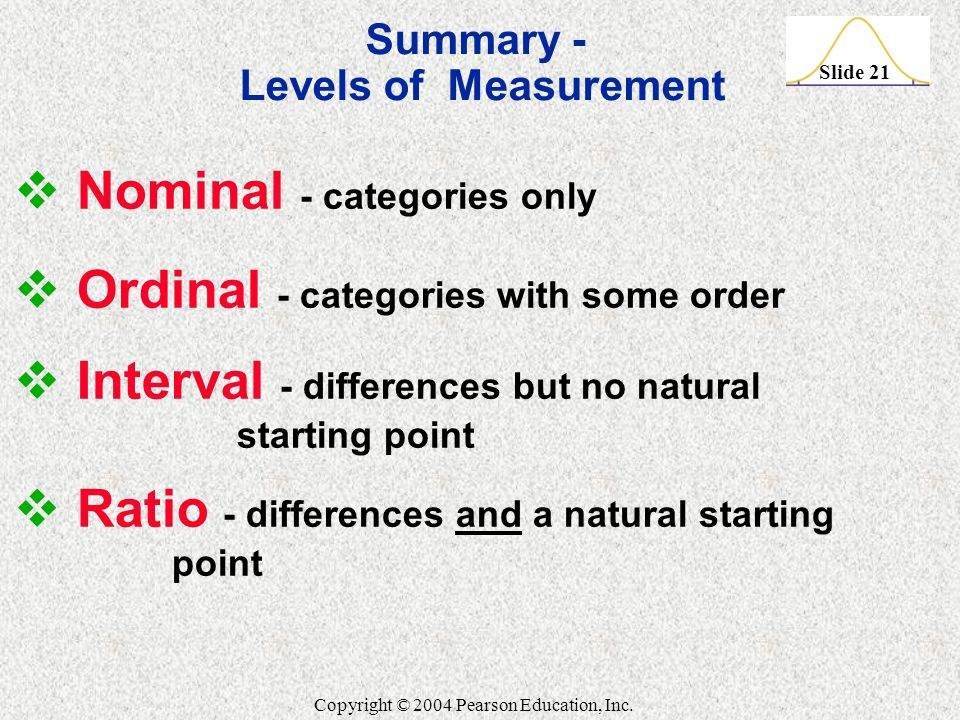 Slide 21 Copyright © 2004 Pearson Education, Inc. Summary - Levels of Measurement  Nominal - categories only  Ordinal - categories with some order 