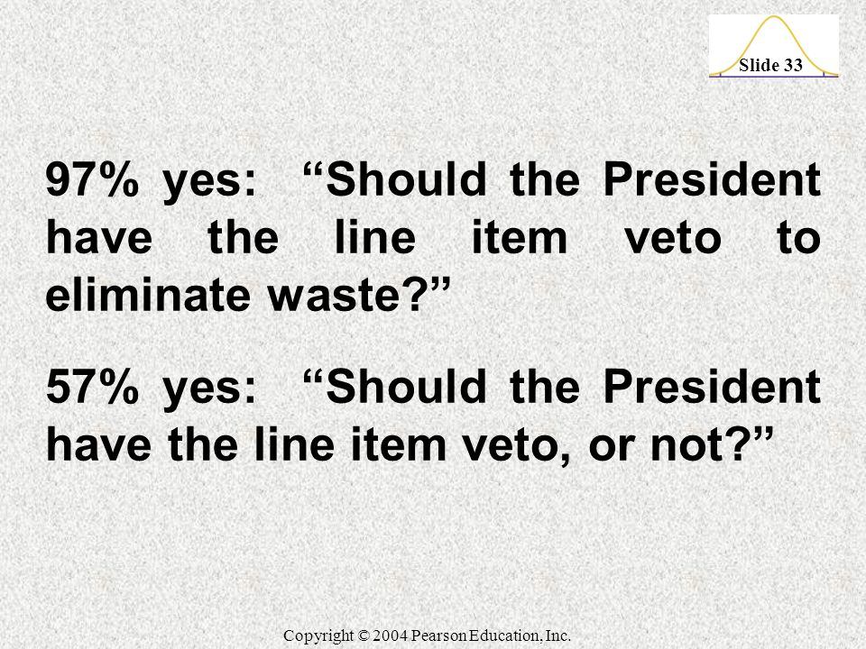 """Slide 33 Copyright © 2004 Pearson Education, Inc. 97% yes: """"Should the President have the line item veto to eliminate waste?"""" 57% yes: """"Should the Pre"""