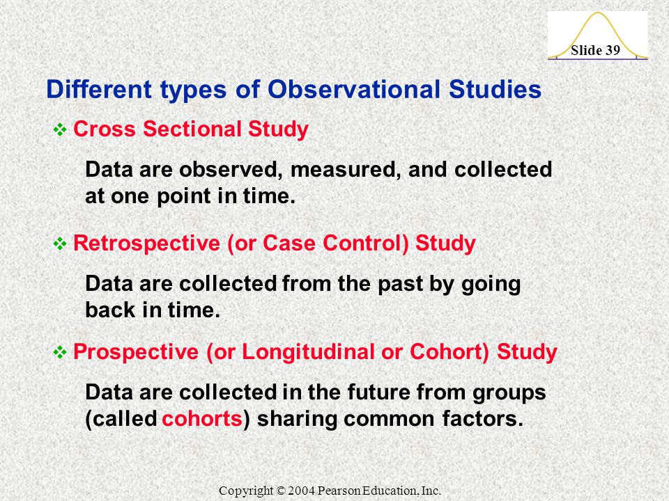 Slide 39 Copyright © 2004 Pearson Education, Inc.  Cross Sectional Study Data are observed, measured, and collected at one point in time.  Retrospec