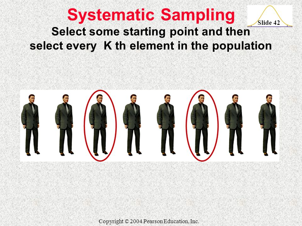 Slide 42 Copyright © 2004 Pearson Education, Inc. Systematic Sampling Select some starting point and then select every K th element in the population