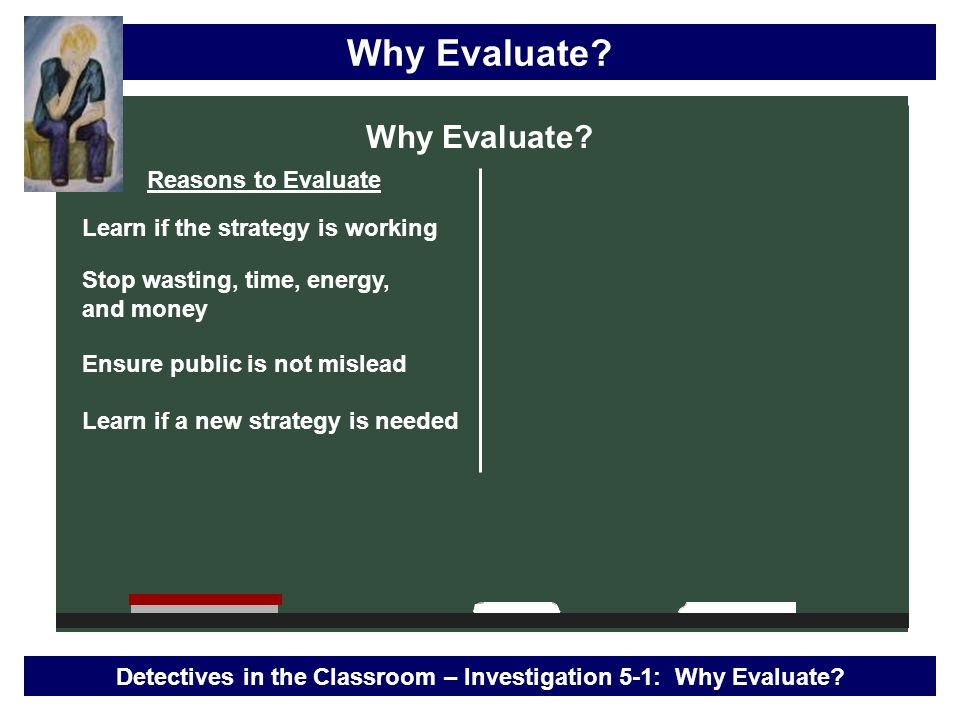 Why Evaluate.Detectives in the Classroom – Investigation 5-1: Why Evaluate.