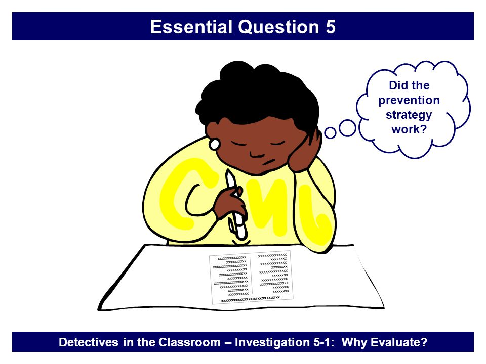 Did the prevention strategy work.Detectives in the Classroom – Investigation 5-1: Why Evaluate.