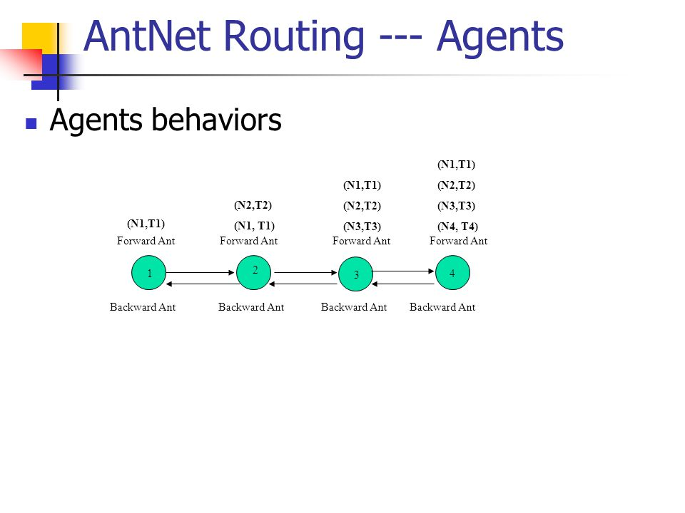 AntNet Routing --- Agents Agents behaviors Backward Ant 1 2 3 4 Forward Ant (N1,T1) (N2,T2) (N1, T1) Forward Ant (N1,T1) (N2,T2) (N3,T3) Forward Ant (