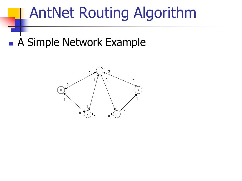 AntNet Routing Algorithm A Simple Network Example 10423 0 0 0 0 0 1 1 1 1 12 2 2 3