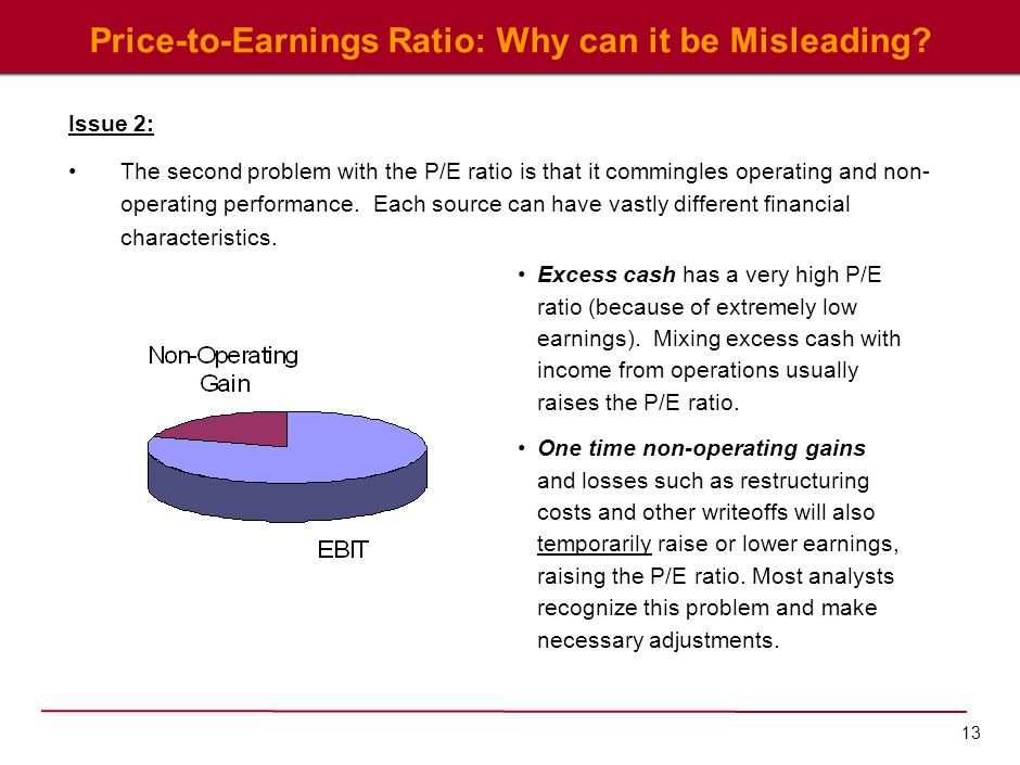 13 Price-to-Earnings Ratio: Why can it be Misleading? Issue 2: The second problem with the P/E ratio is that it commingles operating and non- operatin