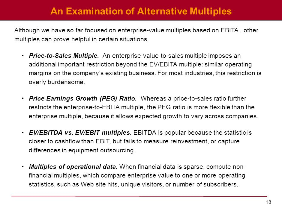 18 An Examination of Alternative Multiples Although we have so far focused on enterprise-value multiples based on EBITA, other multiples can prove hel