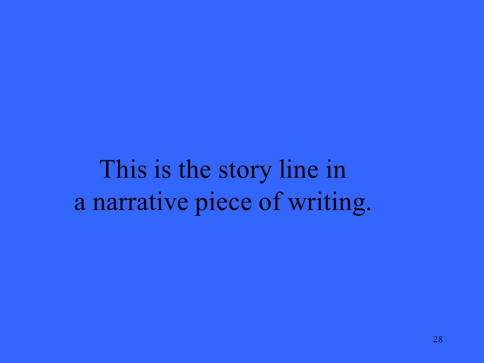 28 This is the story line in a narrative piece of writing.